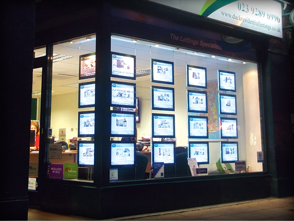 High Tech Illuminated Displays Docklands Property Glasgow